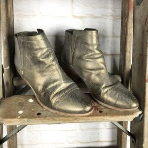 Joie Metallic Pebbled Leather Ankle Boots
